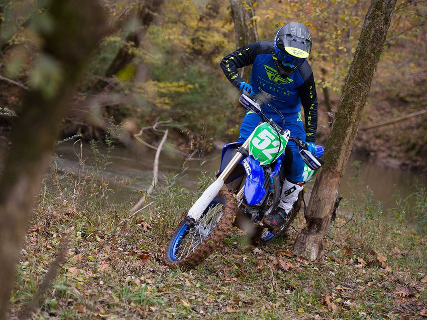 With a low and centered fuel tank, the YZ250FX feels and handles the same whether the tank is full or empty.