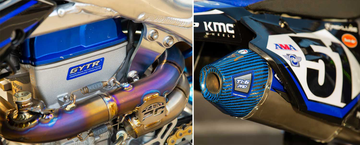 The Pro Circuit Ti-6 Pro exhaust system is custom built for the team. Some discernible differences from an off-the-shelf unit include the large resonance chamber on the head pipe, an O2 sensor bung on the mid-pipe, and a special blue carbon fiber end cap on the muffler.