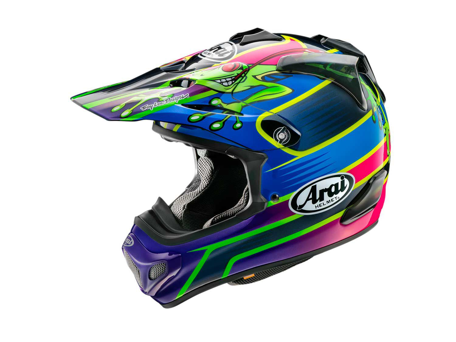 Arai makes a few different pro rider replica versions of its VX-Pro4 helmet, one of which is the Barcia-3 (pictured).