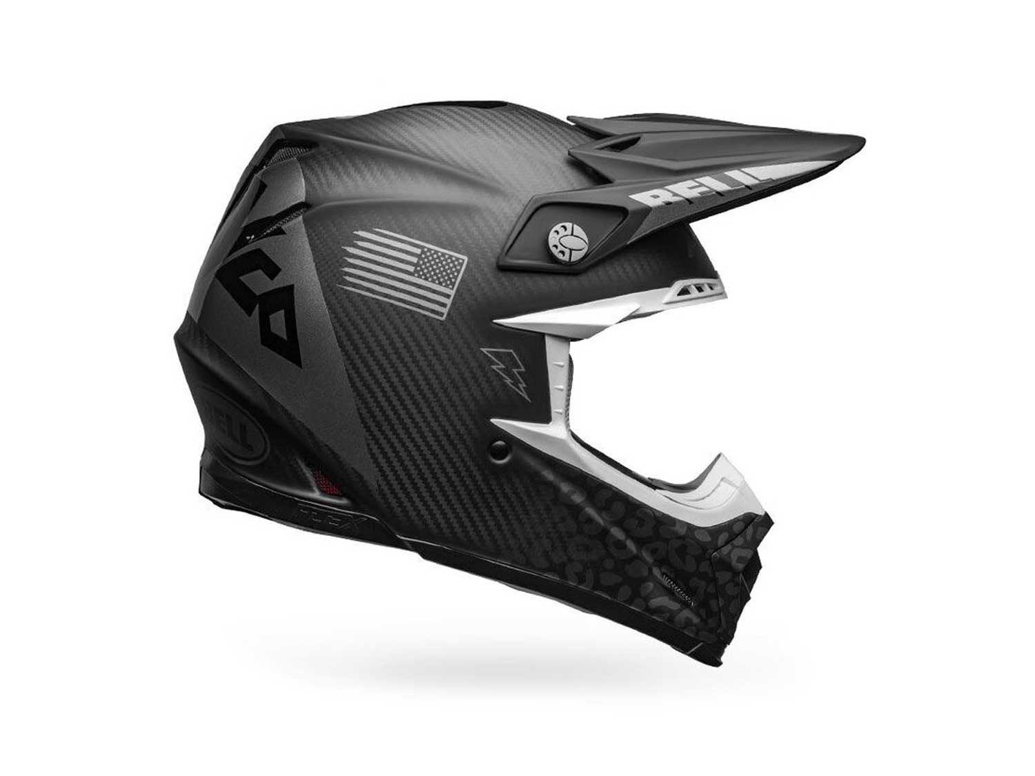 In addition to supporting race teams such as Monster Energy/Star Racing/Yamaha, Bell Helmets also sponsors riders such as Axell Hodges, whose signature Slayco helmet in matte/gloss black/gray (pictured) is currently the highest-priced Moto-9 Flex at $729.95.