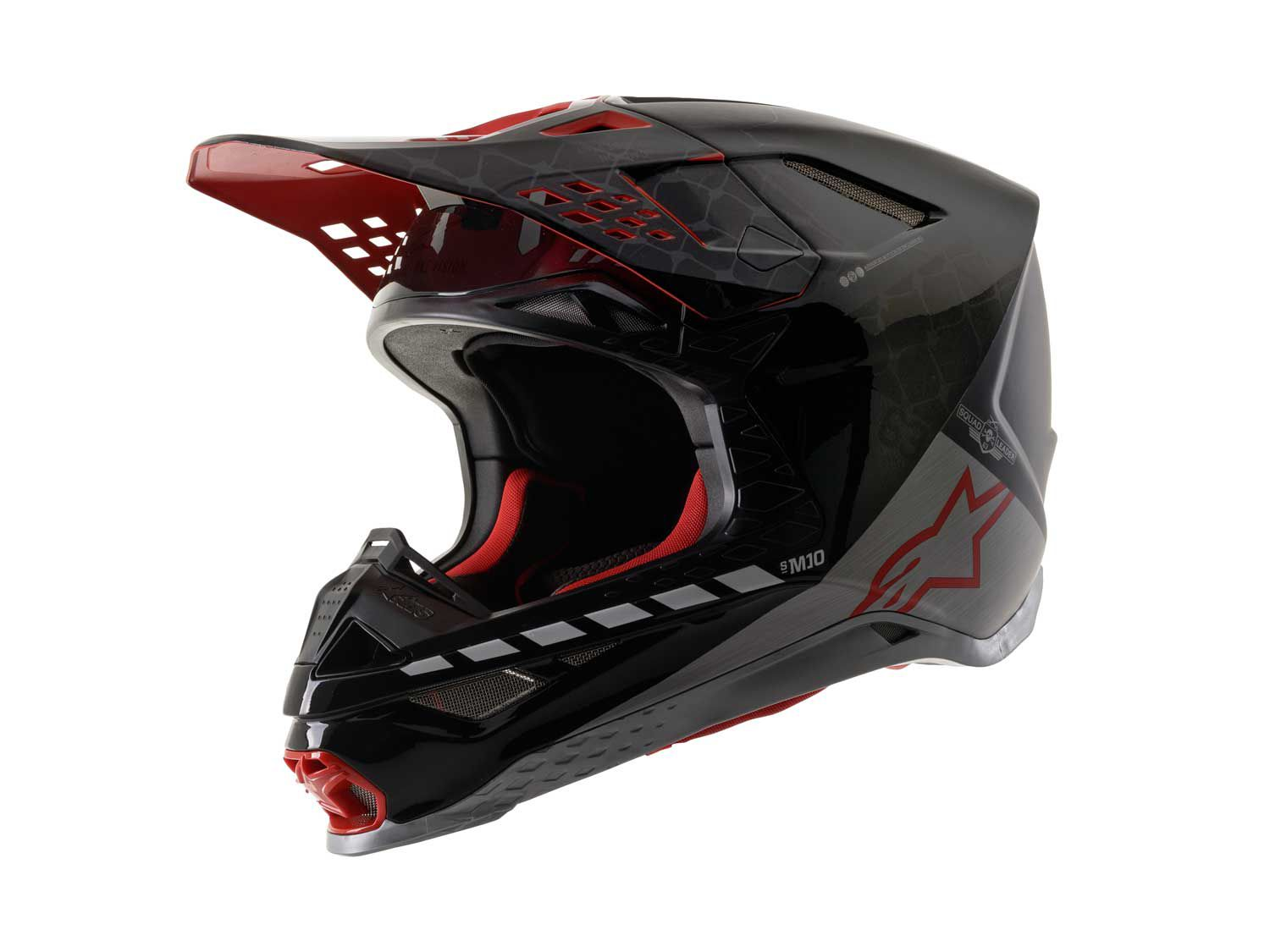 Throughout the Monster Energy AMA Supercross season, Alpinestars releases multiple limited-edition Supertech M10 helmets. For the 2020 San Diego Supercross, the Italian brand went with a black/silver/red matte and glossy color scheme (pictured).