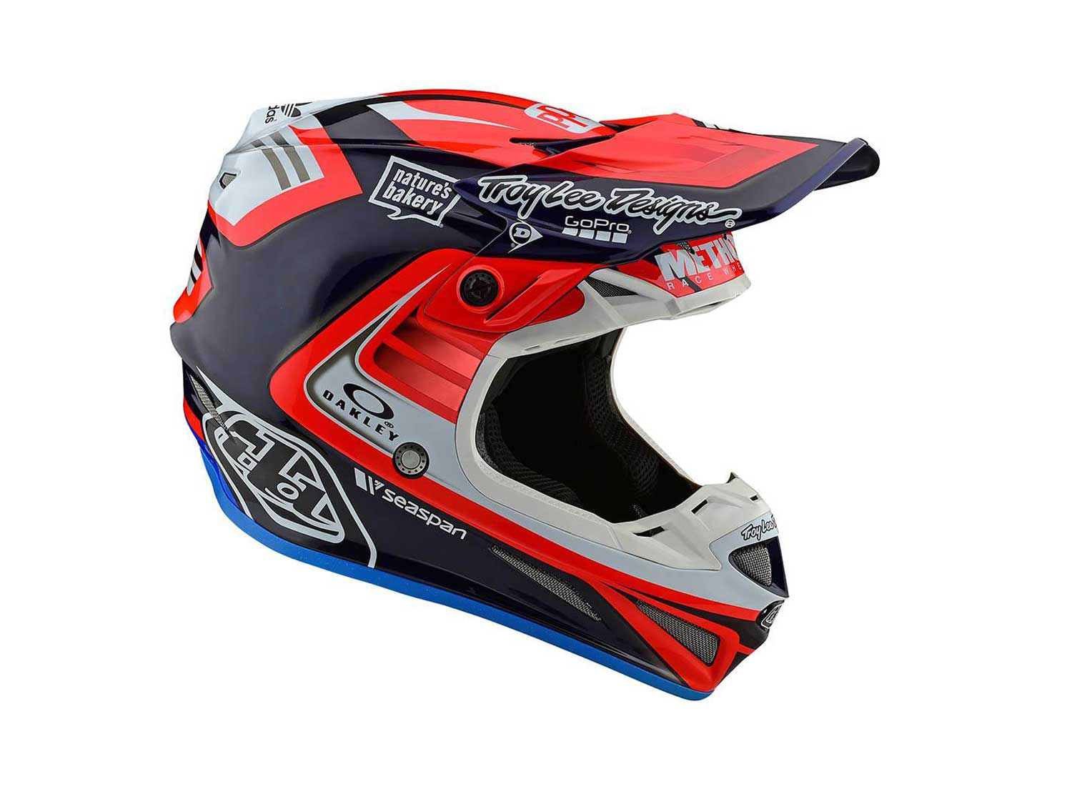 Unsurprisingly, the entire Troy Lee Designs/Red Bull/KTM team wears SE4 Carbon helmets, and the Flash Team design in blue/red (pictured) features many of the factory KTM 250 effort's sponsors.