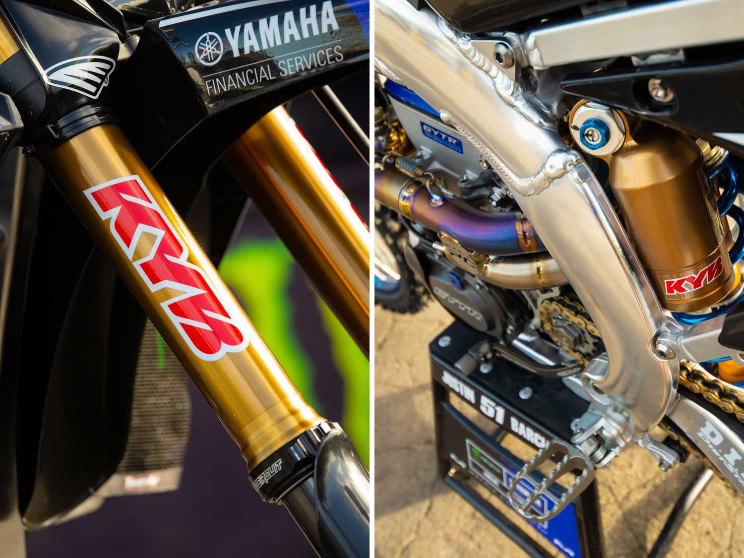 Perhaps the least stock part of the Monster Energy/Yamaha Factory Racing YZ450Fs are the factory KYB suspension components. Bell explained that Barcia likes to have plenty of weight on the front end so that he's able to steer the bike more easily.