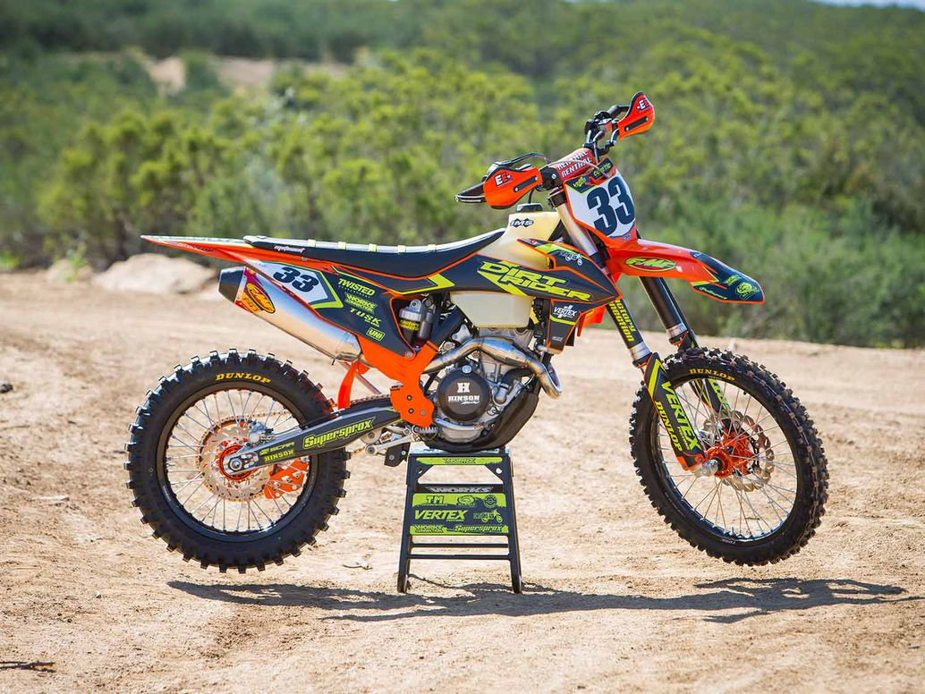 2019 KTM 350 XC-F right profile in the desert.