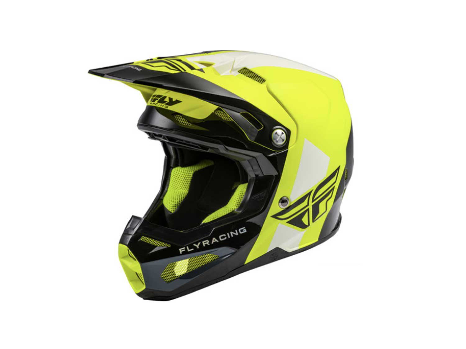 """Fly Racing's high-end dirt bike helmet, the Formula, features Impact Energy Cells that are made of Rheon, which is an """"active"""" strain-rate-sensitive material that is designed to efficiently absorb and dissipate energy as it deforms."""